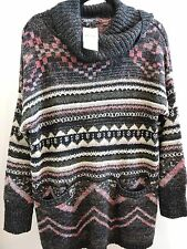 NWT - $119 Lucky Brand Wool Blend Multi-Color Turtleneck Sweater -Size - 1X
