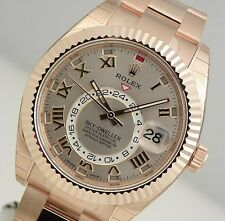 Rolex SKY-DWELLER 326935 Mens Everose Gold Silver Sundust Sunray Dial 42MM