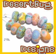 GUM DROPS Handmade Lampwork Beads Turquoise Blue Melon Pink Purple Yellow Matte