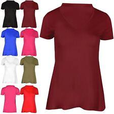 Ladies Trendy Fashion Caps Swing Top Womens Polo V Plunge Party Mini T Shirt