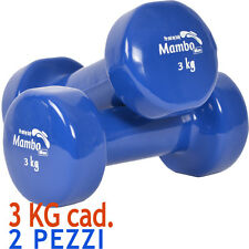 Msd 2 MANUBRI 3 Kg cadauno VINILE LAVABILE BLU peso tot. 6 kg Pesi Sport Braccia