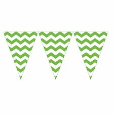 9ft Lime Green White Chevron ZigZag Pennant Party Flag Banner Bunting Decoration