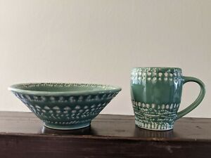 Anthropologie Ceramic Bowl & Mug Set - Handmade Carved Ceramic
