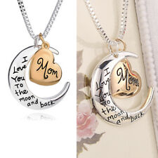 Rose Gold Silver Heart & Moon Necklaces Xmas Gifts Women Girl Mum Mother Fashion