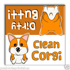 Clean Dirty Dishwasher Magnet Funny - Corgi Butts Pet Gag Gift for Dog Owners