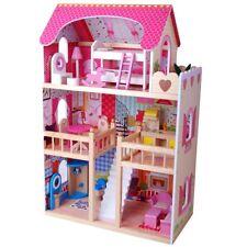 XL Puppenhaus Puppenstube Holz Puppen Biegepuppen Möbel Holzhaus Zubehör PINK