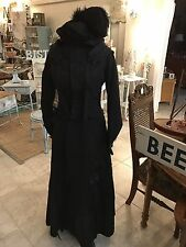 ANTIQUE VICTORIAN 1890'S BLACK MOURNING 2 PC BUSTLE GOWN DRESS