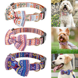Leather Bow Tie Dog Collar Leash Set with Fashion Pattern for Small Medium Dogs
