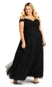 NWT CITY CHIC Rippled Tulle Maxi Dress - Onyx - size 16 - size S - RRP $199.95