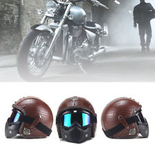 Brown Motorcycle Helmet 3/4 Open PU Leather + Goggle Mask Vintage Style Superb