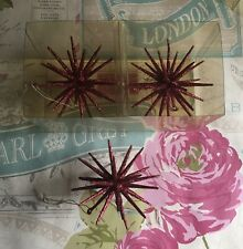 3 x Gorgeous Festive Hot Pink Christmas Vintage Hanging Star Baubles