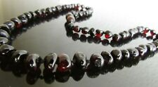45 cm Genuine Baltic Amber Necklace, Beads Knotted Cherry  Colour