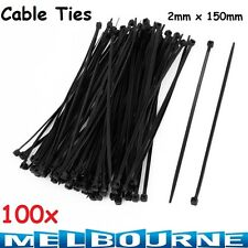100x Black Electrical Nylon Cable Zip Ties (150mm x 2.0mm) Wire Wrap Safety #SB