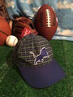 Vintage Rare flannel plaid Detroit Lions NFL ANNCO strapback Hat Cap H22