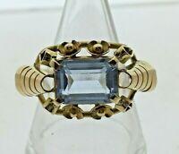 Vintage 1940s 18 carat yellow Gold & Aqua Paste Statement Cocktail Ring size P