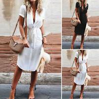 ZANZEA Women Summer Belted Button Down Shirt Dress Fitted Plus Size Sundress