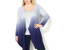 AVENUE OMBRE BLUE GRAY LONG SLEEVE DIP DYED OPEN FRONT CARDIGAN PLUS Sz 22/24