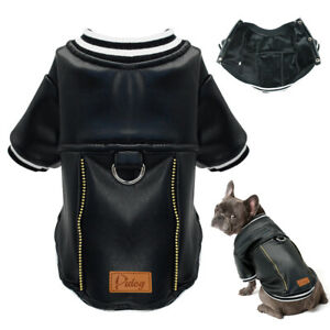 Waterproof Leather Dog Clothes Cat Puppy Coat Pet Sports Jacket Warm Fleece S-XL