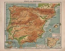 1938 mappa ~ Spagna e Portogallo, Gibilterra ~ Isole Baleari