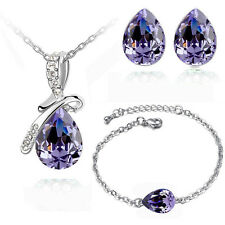 Purple Angel Tear Jewellery Set Crystal Studs Earrings, Bracelet & Necklace S355