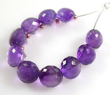 10 GENUINE AFRICAN AMETHYST FACETED ONION BRIOLETTE BEADS 6-6.5 MM A9