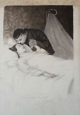 Dessin original illustration au lavis vers 1900
