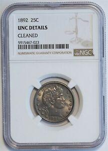1892 25C Barber Silver Quarter United States Coin NGC UNC Details C0287