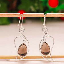 "92.5 STERLING SILVER NATURAL SMOKY QUARTZ PEAR CAB BEAUTIFUL EARRINGS 2"" PD-364"