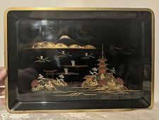 Vintage Japanese Black Lacquerware Landscape Design Lacquer Serving Tray 13
