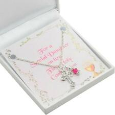 First Holy Communion Day Gift, Birthstone & Cross Necklace for Goddaughter etc