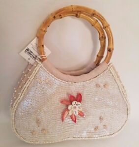 Andrea Jean Color Works Beaded Seashell Purse Designer Handbag Bamboo Handles