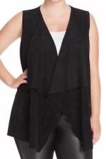 Vest 1X Plus Calvin Klein $120 NWT Faux Suede Draped -Stretch Knit Back