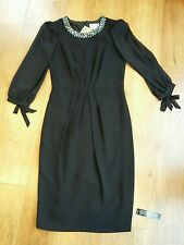 Jenny Packham Black Jeweled Neck, Chiffon Sleeve Shift Dress. UK Size 8. BNWT