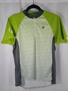 Bontrager Women's Cycling Jersey White Neon Green Sz M Short Sleeve Quarter Zip