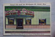Vintage 1940s Linen Postcard p: Pieroni's Sea Grill 601 Washington St Boston MA