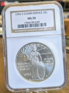 1996-S US National Community Service Commemorative Silver Dollar - NGC MS70