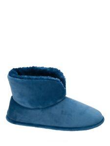 Dearfoams Women's Solid Velour Bootie Slipper, Tide Blue, Size Large