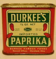 Old Vintage 1940s DURKEE PAPRIKA PEPPER GRAPHIC SPICE TIN 1 1/4OZ CLEVELAND OHIO