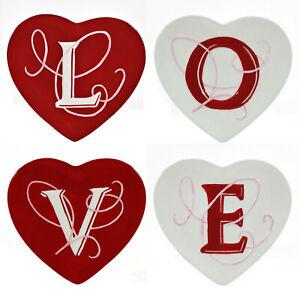 "MWW Market VALENTINE 4.75"" Mini Heart Plate Set 4Pc Love Red White Pink In Box"
