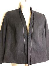 Vintage Pendleton Plus Sz 18 Wool Blazer Jacket Black Leather Piping Trim Open