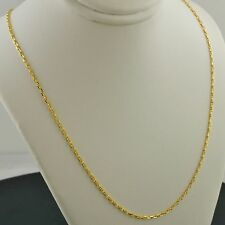 18K YELLOW GOLD 1.5MM WIDE TWISTED MARINER LINK 18 INCH PENDANT CHAIN NECKLACE