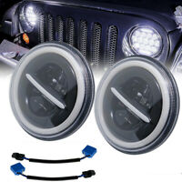 7 Inch DRL LED Halo Headlights Hi/Lo Fit for JEEP Wrangler JK TJ YJ Truck Pair