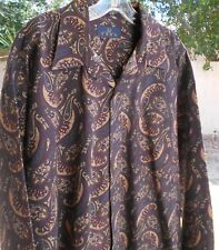 ENRO X LARGE GRAY PAISLEY LONG SLEEVE Button Down COTTON CHEST 54 LENGTH 34