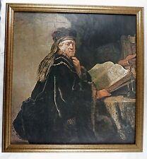 Vintage Rembrandt van Rijn Scholar in his Study Framed Canvas Print