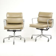 Eames Herman Miller Soft Pad Aluminum Group Chair Tan Leather 2000's 2x Avail