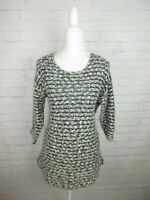 J.Jill women's size Medium Black and White Knit Tunic Top 3/4 Sleeve Scoop Neck