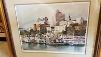 """Helen Stahl S/N Lithograph Titled """"A River City"""" #486/1000 Framed & Matted"""