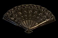 4 Vintage Fenton Glass Pressed Clear Fan Plate Tray Daisy & Button #957