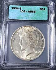 1934-S Peace Dollar ICG AU58
