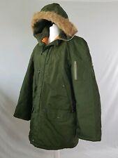 Vintage Waterproof Coat Parka Jacket 60s Khaki Down Padded Fur Long 48-50 XXL